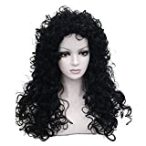 Aimole Synthetic Heat Resistant Black Hair Long Curly Wigs Cosplay Women Wig(1-Black)
