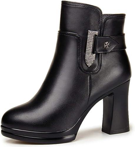 Shiney Chaussures Chaussures De Coton pour Femmes Bottes en Cuir à Talons Hauts, Bottes Courtes Tête Ronde, Laine Chaude  nouveau sadie