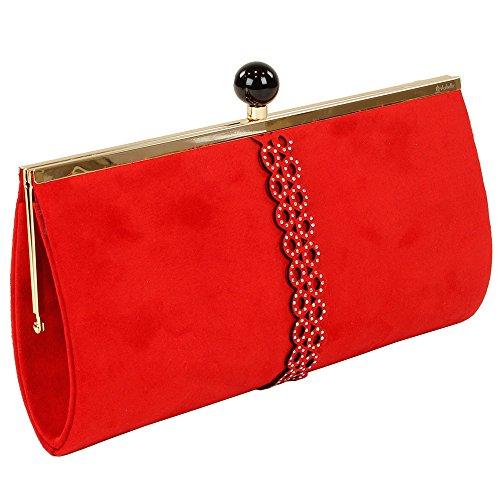 El Caballo Boquilla de Fiesta, Bolso Clutch para Mujer, Rojo, 31x15x4 cm