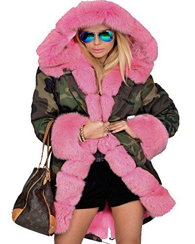 Roiii Frauen Winter Grau Camourflage Verdicken Parka Kunstpelz Top Jacke Mantel Größe S-3XL (36, ROSA)