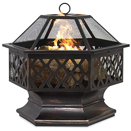 Read About Best Choice Products Outdoor Hex-Shaped 24-inch Steel Fire Pit Decoration Accent w/Flame-...