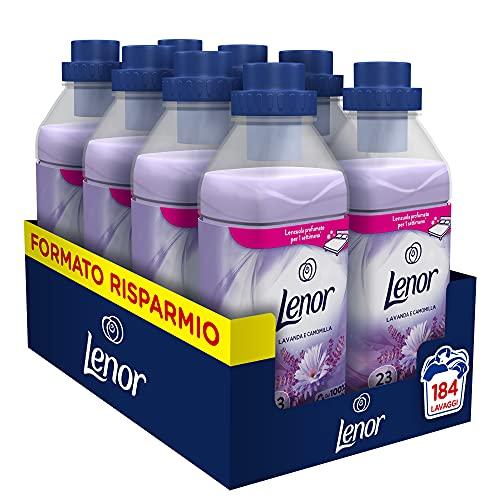 Lenor Ammorbidente Lavatrice Concentrato, 184 Lavaggi (8 x 23), Lavanda e Camomilla, Azione Ammorbidente, Maxi Formato, Freschezza Duratura, per Tutti i Capi