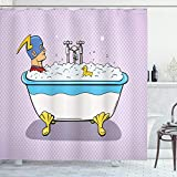 ABAKUHAUS Historietas Cortina de Baño, Superhéroe baño de Burbujas, Material Resistente al Agua Durable Estampa Digital, 175 x 200 cm, Multicolor