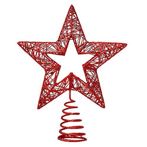 PRETYZOOM Weihnachtsbaum Spitzen Glitzer Rot Sterne Eisen Kunst Weihnachtsbaum Krone Christbaumschmuck Spitze Weihnachtsbaumschmuck Baumschmuck Weihnachtsdeko Weihnachten Festival Dekoration