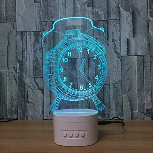 Lampe de table 3D Illusion Optique de la lumière Visible de Nuit avec Bluetooth Haut-Parleur de Base LED, 5 Couleurs de l'USB, Bébé, Enfant, Blanc