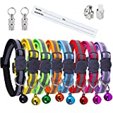 Extodry 10 Pack Reflective Cat Collars,kitten collar with Bells and Safety Quick Release Buckle,Adjustable 20-34cm,Suitable for Most Domestic (8 Colors & 2 pack Anti-Lost Tags)