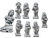 CATART Figura Decorativa Blancanieves y 7 enanitos en hormigón-Piedra para el jardín Exterior