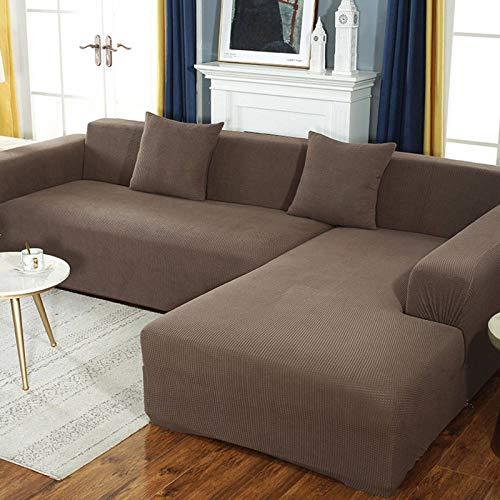GOPG Funda de sofá impermeable, antideslizante y resistente a los arañazos, para niños, perros, gatos, mascotas, sofá esquinero de 2 plazas (145 – 185 cm), color café