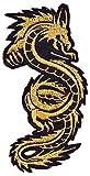 Parche de dragón dorado para coser o coser en Vikings Nordmen artes marciales tatuaje kung fu karate alemanes (pequeño)