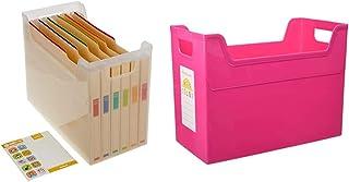 【セット買い】ナカバヤシ ファイルボックス 書類収納ケース なげこみBOX F6 6分類 フボI-F6 & ファイルボックス 書類収納ボックス A4ワイド ピンク フボ-TCW4KP