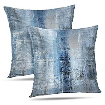 Alricc Blue and Grey Abstract Art Artwork Pillow Cover Gallery Modern Decorative Throw Pillows Cushion Cover for Bedroom Sofa Living Room 18 x 18 Inch Set of 2