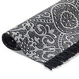 GJEFEGS vidaXL Kelim-Teppich Baumwolle 160x230 cm mit Muster Grau - 4