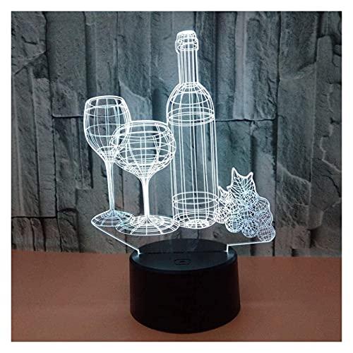 Ckssyao Lámpara de Mesa Botella de Vino LED gradiente Colorido 3D lámpara de Mesa estéreo táctil Control Remoto USB Mesa Luminosa Junto a la Cama decoración Creativa Regalo joyería