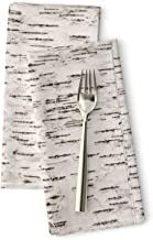 Roostery Cloth Dinner Napkins, Tree Bark & Forest Birch Aspen Trees Willow Lane Wood Texture Print, Linen-Cotton Canvas Dinner Napkins, 20in x 20in, Set of 2