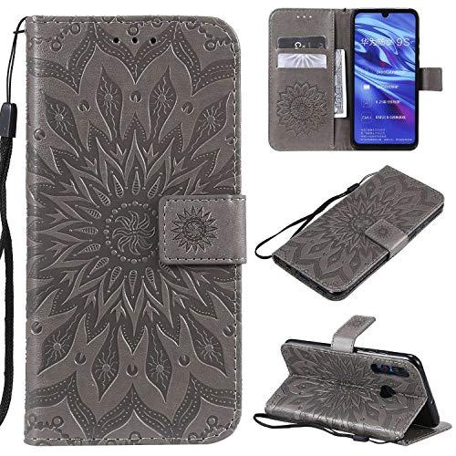 KKEIKO Hülle für Huawei P Smart Plus 2019 / Huawei Honor 10I, PU Leder Brieftasche Schutzhülle Klapphülle, Sun Blumen Design Stoßfest Handyhülle für Huawei P Smart Plus 2019 - Grau