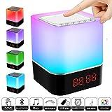 Bluetooth Lautsprecher Lampen, Swonuk Nachttischlampe mit Bluetooth Lautsprecher 5 in 1 USB Wiederaufladbar Touchlampe mit 12/24H Digital Wecker, Dimmbar, Freisprechen, MP3-Player,...