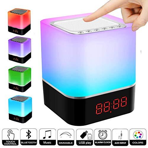 Bluetooth Lautsprecher Lampen, Swonuk Nachttischlampe mit Bluetooth Lautsprecher 5 in 1 USB Wiederaufladbar Touchlampe mit 12/24H Digital Wecker, Dimmbar, Freisprechen, MP3-Player, Lautsprecher