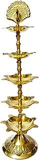 Craftsman Diwali Gift/Diwali Deepawali Decoration Handmade Indian Heavy Brass 5 Steps 11 inch Panchmahal Diya Lamp Engraved 5 in 1 Adjustable Dia with Beautiful Peacock on top.Indian Gift Items.