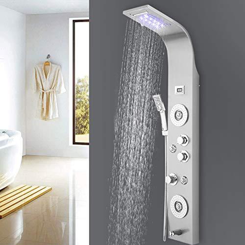 Juhuitong Duschpaneel Regendusche Edelstahl mit Licht, Wandhalterung Duschsystem mit 5 Funktionen Wasserfall Duschkopf Wasserhahn Handbrause Massagedüsen für Dusch Badezimmer Home Hotel