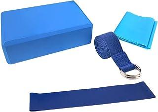 4pcs Yoga Blocks Stretching Strap Resistance Loop Band Exercise Band Yoga Equipment Set