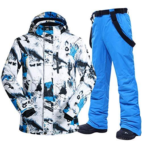 Hbao Herren Skianzug Winter warm, Winddicht und wasserdicht Outdoor-Sport Schneeschuh Hosen heiße Skiausrüstung Snowboardjacke Männer (Color : Blue, Size : Medium)