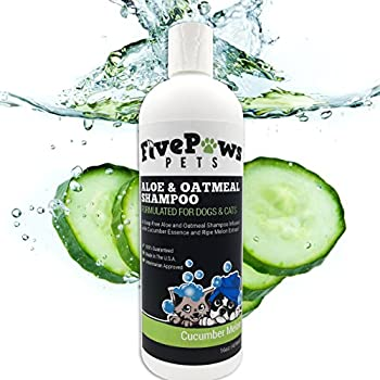 Soap Free Aloe and Oatmeal Hypoallergenic Pet Shampoo Relieves Dry Flaky Itchy Skin Natural Cucumber and Melon Scent for Dogs Cats and Horses 16 oz