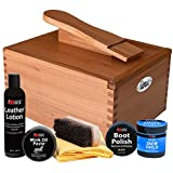 FootMatters Professional Shoe Shine Valet Kit - Includes Hardwood Boot & Shoe Care Box, Horsehair Brush, Mink Oil, Waterproof, Polish, Leather Lotion