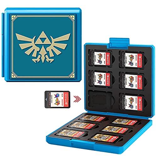 Spiele Card Case für Nintendo Switch, Tragbare und Dünne, Schutzhülle Aufbewahrung Spiele Tasche für 12 Spiele Slots, Speicherkarten Tragetasche für Switch Lite NS NX Game Card (Blue Badge)