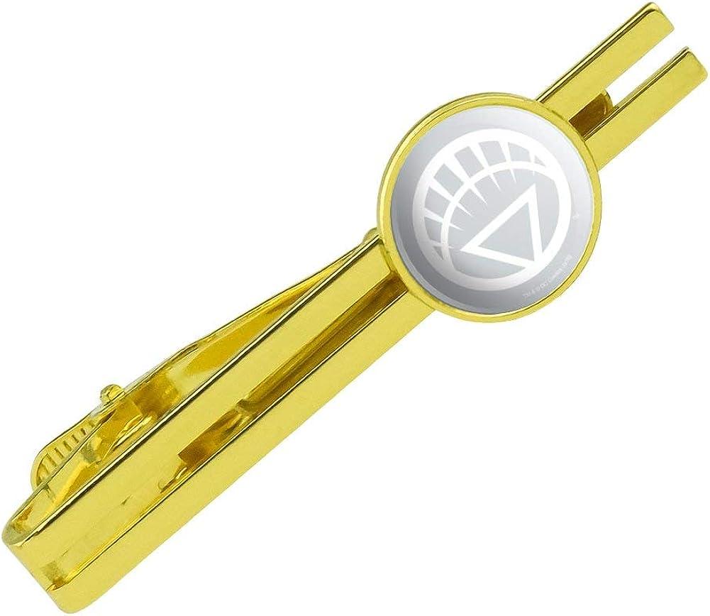 GRAPHICS & MORE Green Lantern Blackest Night White Lantern Logo Round Tie Bar Clip Clasp Tack Gold Color Plated