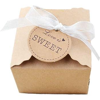 Aweisile 50 Piezas Caja de regalo de papel kraft Caja de Dulces de Caramelo con Etiqueta de regalo para bodas cumpleaños bautizo comunión Navidad Banquete de Boda Embalaje: Amazon.es: Hogar