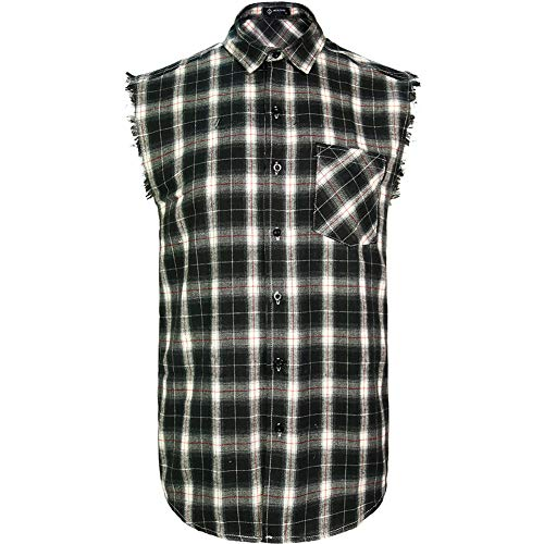 MCULIVOD Sleeveless Plaid Snap-Front Shirt for Men, Cowboy Button Down Shitrs Black,Medium
