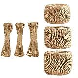 Longitud de 100 metros de cuerda de yute natural fuerte cuerda de cáñamo cuerda para manualidades (3 mm x 100 metros)