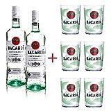 Pack 2 botellas Bacardi 1L y 6 Vasos Mojito Bacardi