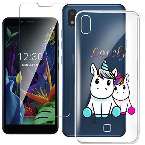 HYMY Hülle für LG K20 2019 Smartphone + 1 x Schutzfolie Panzerglas - Transparent Schutzhülle TPU Handytasche Tasche Durchsichtig Klar Silikon Hülle für LG K20 2019 (5.45