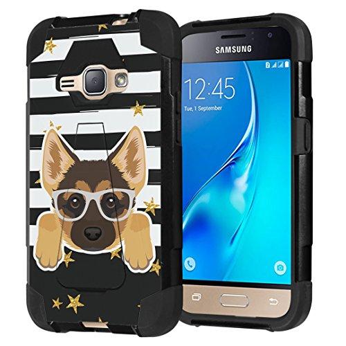 Galaxy Express 3 / Galaxy Amp 2 / Galaxy Luna/Galaxy J1 J120 Case, Capsule-Case Shockproof Kickstand Case (Black) for Samsung Galaxy Express3 / Amp2 / Luna / J1 J120 -(German Shepherd)