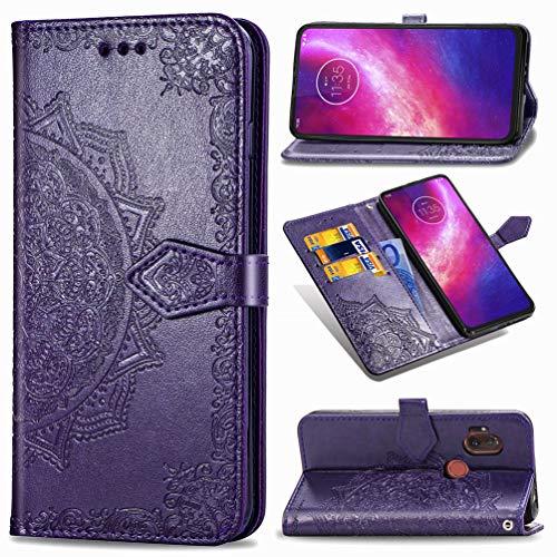 XFDSFDL® Schutzhülle für Motorola One Hyper (6,5 Zoll) PU Lederhülle Flip Cover Präge Mandala Muster mit Ständer Magnetverschluss Kartensteckplatz Brieftasche Handytasche, Lila