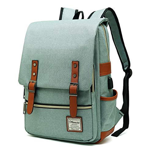 MANCIO Slim Laptop Backpack with USB Charging Port,Vintage Tear Resistant Business Bag for Travel, College, School, Casual Daypacks for Men,Women, Fits up to 15.6Inch Macbook, Green