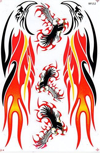 Adler Flammen Feuer rot Sticker Aufkleber Folie 1 Blatt 270 mm x 180 mm wetterfest