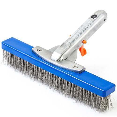 """Aquatix Pro Heavy Duty Pool Brush, Durable 10"""" Swimming Pool Cleaner Brush Best for Tackling Stubborn Stains, Aluminium Handle & Stainless Steel Bristles, Suitable for Concrete & Gunite Pools."""