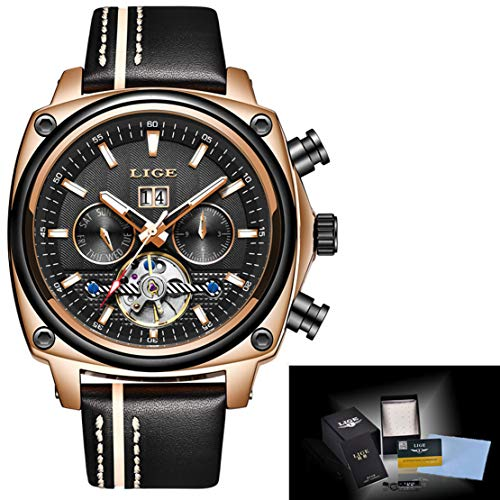 HIOD Automático Mecánico Relojes de los Hombres Negocio Movimiento Tourbillon Inoxidable Acero Reloj Impermeable Ocio Moda Muñeca Pendiente de Hombres