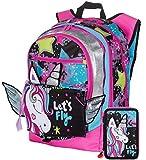 Gopop Schoolpack Zaino Scuola Unicorno Estensibile 43x31x17 cm + Astuccio 3 Zip Completo