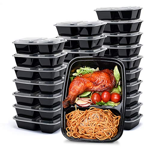 Glotoch 50 Pack 32 oz 2 Compartment Plastic Food Storage Containers Set with Lids - Microwave, Freezer & Dishwasher Freezer Safe Eco-Friendly, BPA-Free, Durable & Stackable