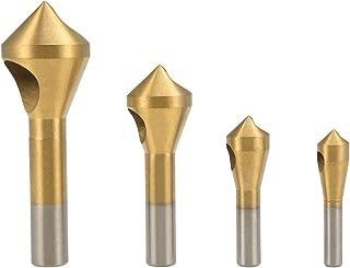 uxcell Countersink Chamfer Deburring Drill Bit Set 2-5mm 5-10mm 10-15mm 15-20mm Round Shank Woodworking Tool Titanium Plating HSS 4pcs