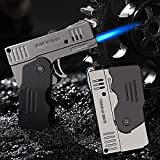 Jet Torch Lighter, Jet / Soft Flame Switchable Lighter with Lockable Function and Adjustable Flame Dial, Butαne Refillable for Men, Husband (Fuel Not Included)
