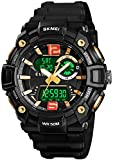 Mens Analog Digital Sports Watches Military Multifunction 3 Time Alarm Stopwatch Countdown 12H/24H Time Backlight 164FT 50M Waterproof Watch (A Gold)