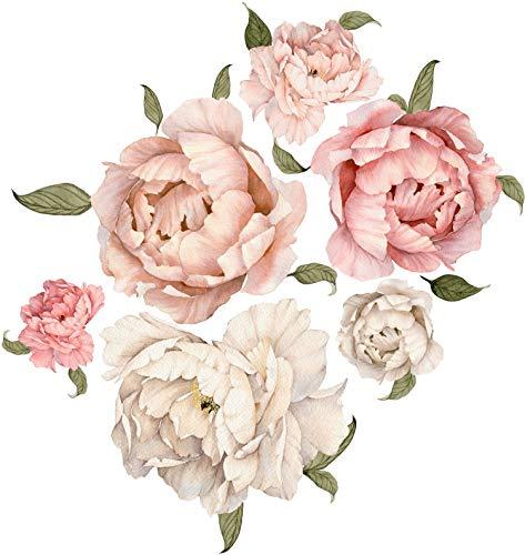 Szeridan Wandtattoo Pfingstrose Rose Blumen Wandaufkleber Deko Pfingstrosenaufkleber Schlafzimmer Wohnzimmer Kinderzimmer Klassenzimmer Dekoration Aufkleber Blume Wandsticker (GIGA, Rosa-Beige)