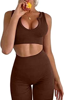 FAFOFA Workout Outfits for Women 2 Piece Ribbed Seamless Crop Tank High Waist Yoga Leggings Sets