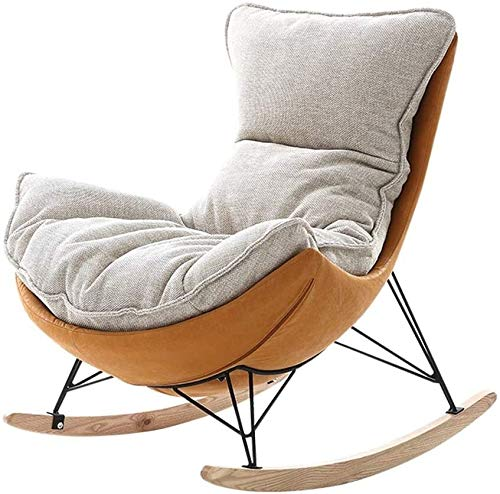HLZY Home Furniture Porch Chairs, Rocking Chair with Backrest Removable Down Cushion Relaxing Recliner Chair for Living Room, Patio and Terrace Bedroom Garden Relax Furniture (Color : Beige)