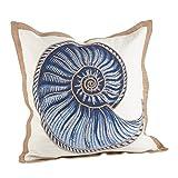 SARO LIFESTYLE Nautical Spiral Shell Print Down Filled Throw Pillow (5434.NB20S), 20'
