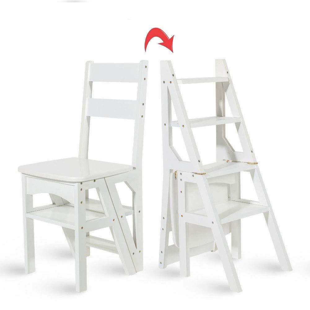 HM&DX Estantería Escalera Estante, 4-Tier Bambú Silla Múltiples Funciones Estante de exhibición del almacenaje para Salon Oficina Dormitorio -Blanco: Amazon.es: Hogar